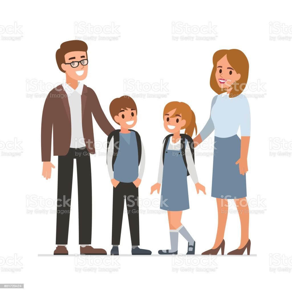 teachers and pupils vector art illustration