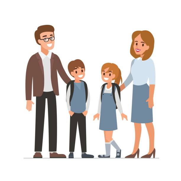 teachers and pupils Happy female and male teachers with pupils.  Flat style vector illustration isolated on white background. parenting stock illustrations