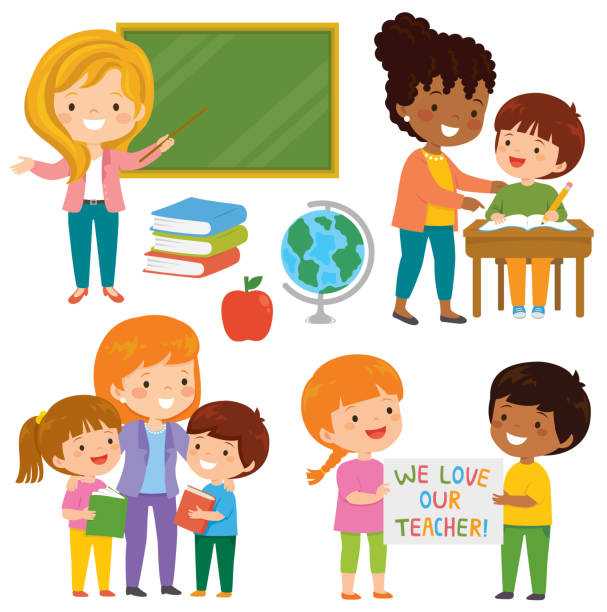 Teachers and students clipart set Teachers and kids at school. Cute happy teachers and their loving students learning together in the classroom. teacher appreciation week stock illustrations