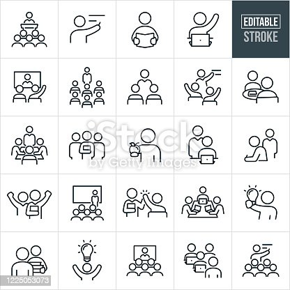 A set of teacher and students icons that include editable strokes or outlines using the EPS vector file. The icons include a professor giving lecture from podium to a group of students, teacher pointing to blackboard, student reading a book, student with raised hand siting at laptop, students watching a video conference, an educator lecturing a group of students, two students studying together, study group, students at table with teacher, three professors, student taking test, professor giving presentation in front of screen, instructor giving a high five to a student, three students at a table with laptops, student holding a lightbulb, students watching a videoconference and other related icons.