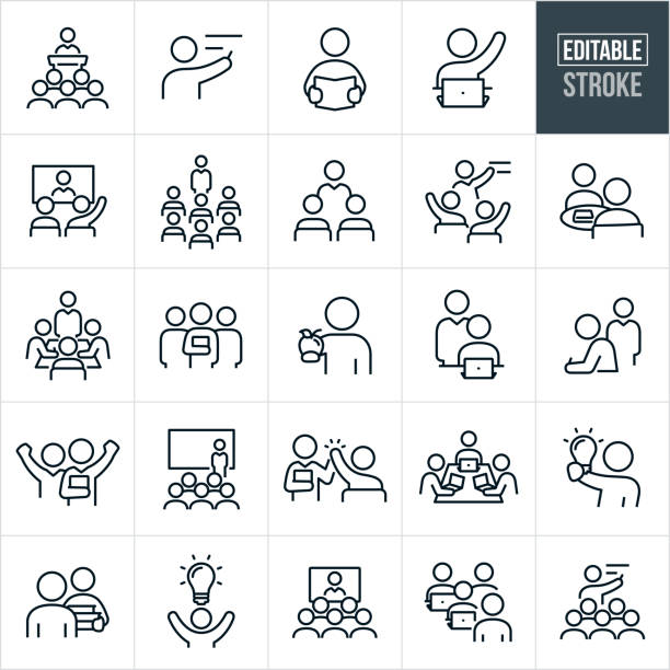 Teachers And Students Thin Line Icons - Editable Stroke A set of teacher and students icons that include editable strokes or outlines using the EPS vector file. The icons include a professor giving lecture from podium to a group of students, teacher pointing to blackboard, student reading a book, student with raised hand siting at laptop, students watching a video conference, an educator lecturing a group of students, two students studying together, study group, students at table with teacher, three professors, student taking test, professor giving presentation in front of screen, instructor giving a high five to a student, three students at a table with laptops, student holding a lightbulb, students watching a videoconference and other related icons. showing stock illustrations