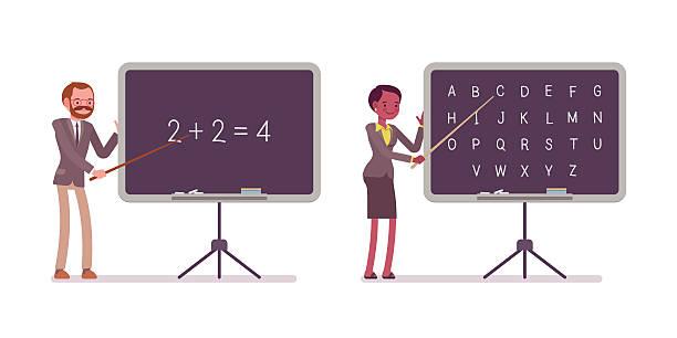 teachers are teaching maths and alphabet on the blackboard - 잉글랜드 문화 stock illustrations