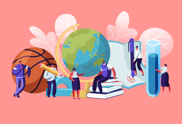 ilustrações de stock, clip art, desenhos animados e ícones de teachers characters with educational tools and stationery as ball globe books. different disciplines as geography, physical culture, chemistry, literature, language cartoon flat vector illustration - professor