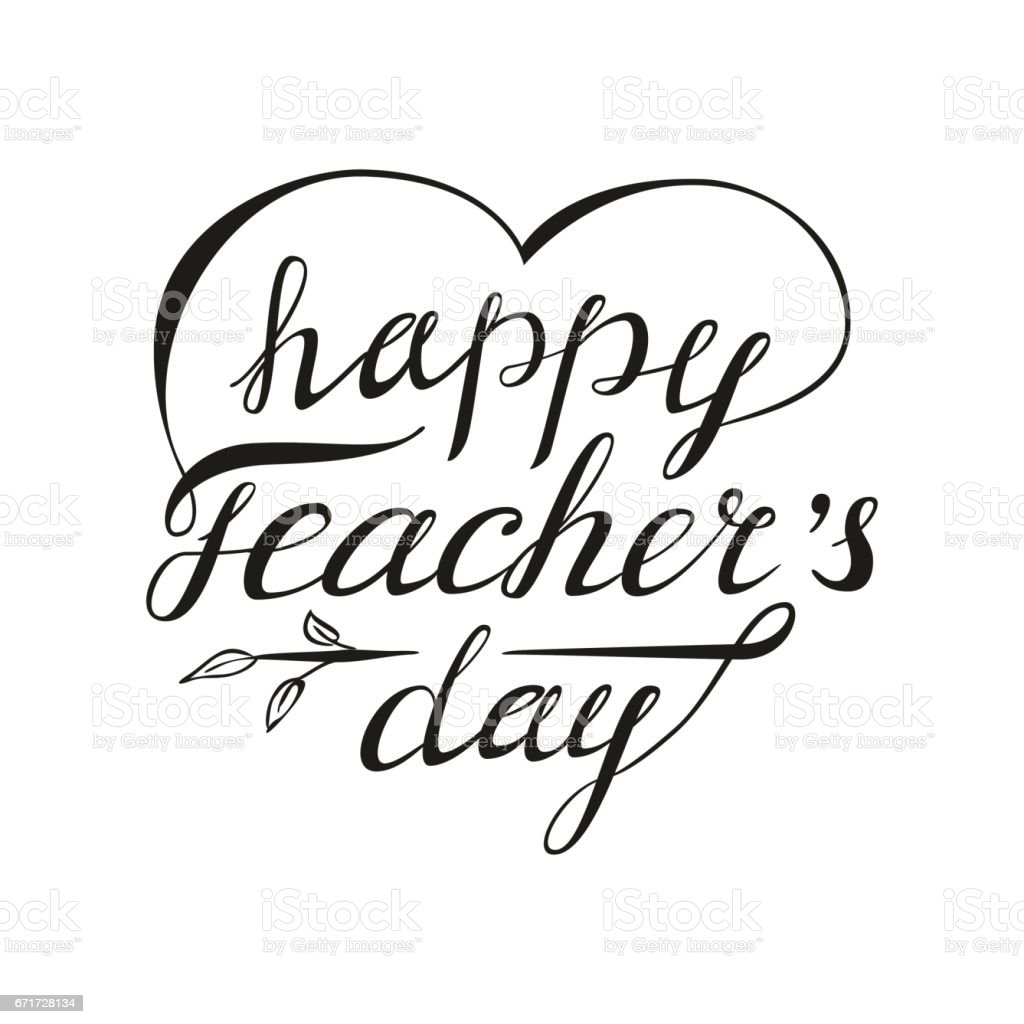 Teacher's day card as handdrawn lettering for your decoration vector art illustration