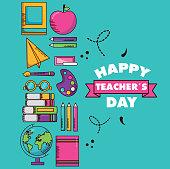 school supplies poster teachers day vector illustration