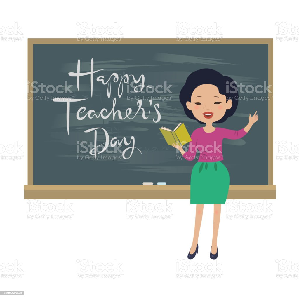 Teachers day greeting card asian teacher at the chalkboard stock teachers day greeting card asian teacher at the chalkboard royalty free teachers day greeting m4hsunfo
