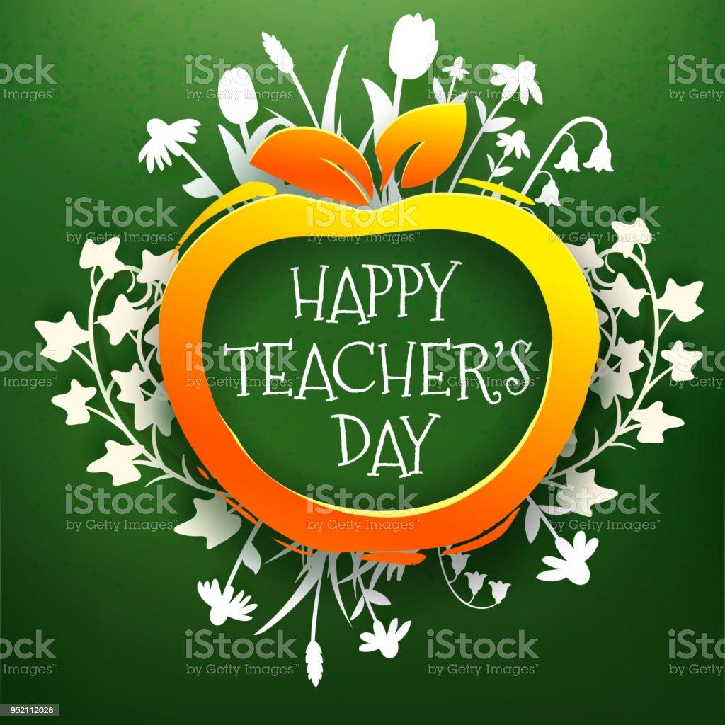 Teachers Day Greetings Card On Chalkboard Stock Vector Art More