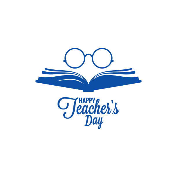 teachers day logo. glasses and book icon on white background - thank you teacher stock illustrations, clip art, cartoons, & icons