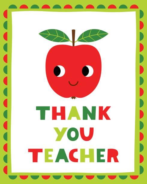 Teachers day thank you vector card Teachers day thank you vector card thank you teacher stock illustrations
