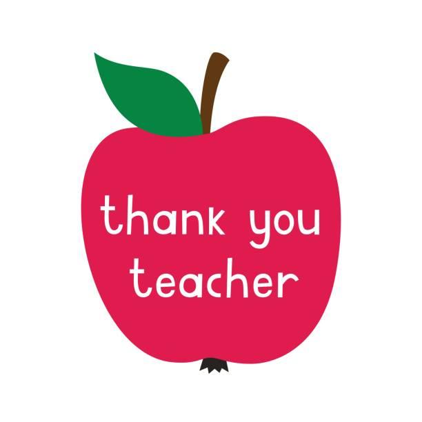 Teacher's Day vector card with a red apple Teacher's Day vector card with a red apple thank you teacher stock illustrations