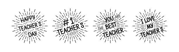 Teachers day with burst. Black colored set. Typography; card. Vector Teachers day with burst. Black colored set. Typography; card. Vector illustration thank you teacher stock illustrations