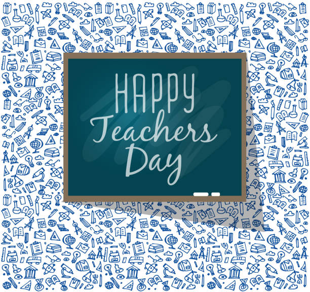 Teachers day.School doodles Supplies Sketchy background Teachers day. School doodles Supplies. Composition for Teachers day. Hand Drawn Vector Illustration for Teachers day .Design Elements thank you teacher stock illustrations