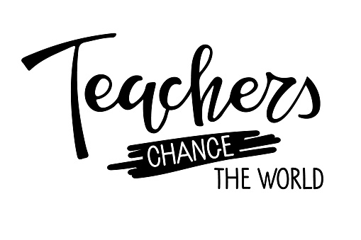 Teachers gonna teach text. Vector Hand drawn calligraphy lettering inscription with apple on white background. For greeting card, school design, sublimation for t shirt, mug. Happy teacher's day sign.