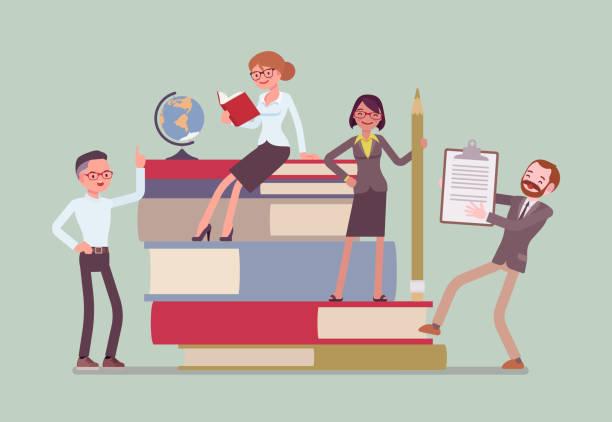 ilustrações, clipart, desenhos animados e ícones de grupo de professores em livros gigantes - professor