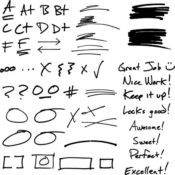 lehrer der handschriftliche notizen und noten - korrekturlesen stock-grafiken, -clipart, -cartoons und -symbole