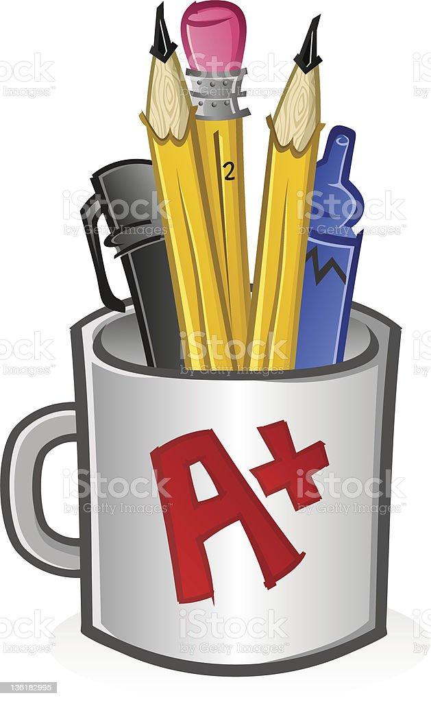Teacher's Pencil Cup royalty-free stock vector art