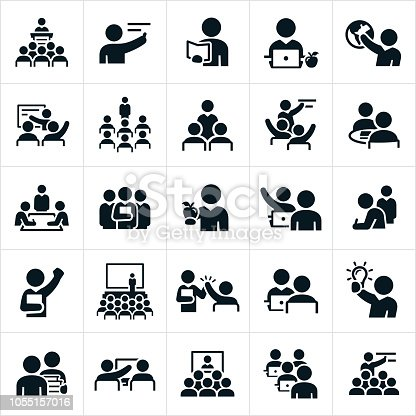 A set of icons representing teachers, professors and instructors. The icons show several different scenarios of teachers or instructors teaching, training or instructing others.