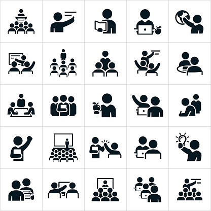 Teachers, Professors and Instructors Icons clipart