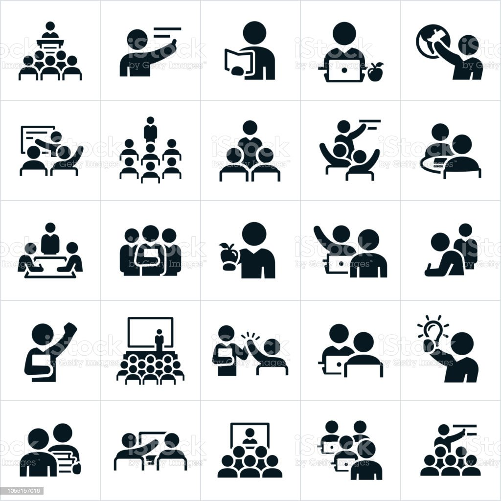 Teachers, Professors and Instructors Icons vector art illustration