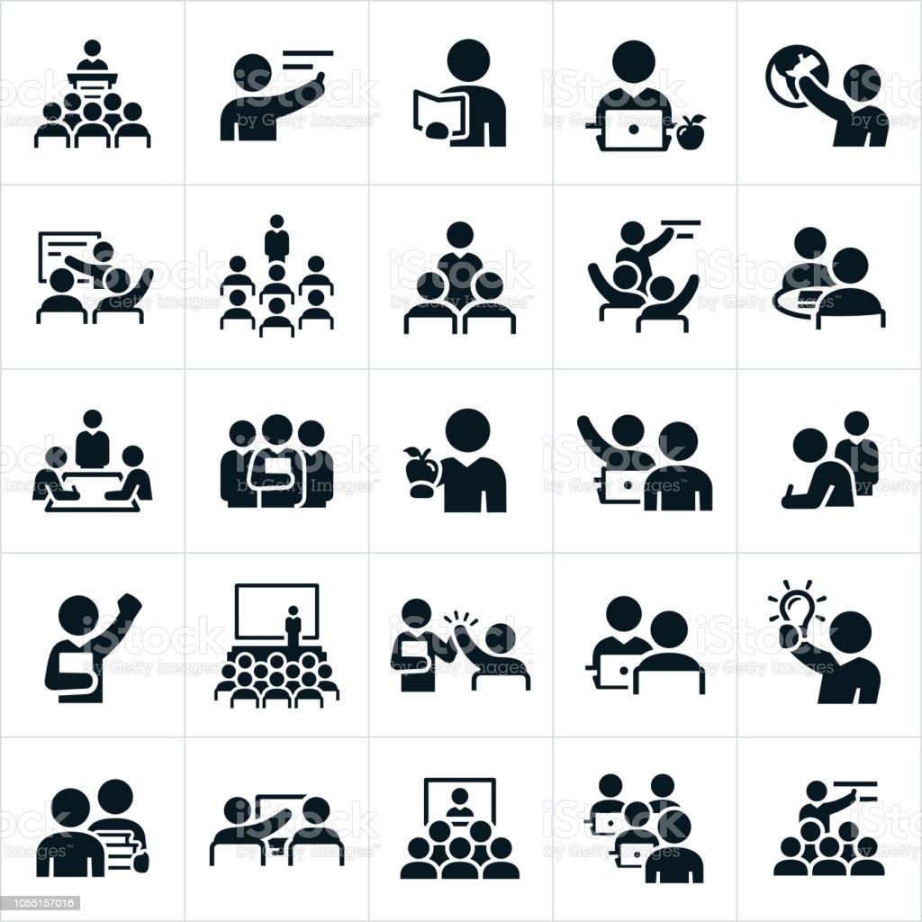 Enseignants, professeurs et instructeurs icônes - Illustration vectorielle
