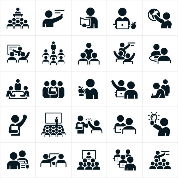 Teachers, Professors and Instructors Icons A set of icons representing teachers, professors and instructors. The icons show several different scenarios of teachers or instructors teaching, training or instructing others. meeting stock illustrations