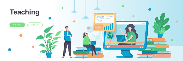 Teaching landing page with people characters. Personal teacher service web banner. Educational webinar, online classes vector illustration