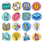 Teaching and learning online liquid doodle style outline symbols on color background. Vector icons set for infographics, mobile or web page designs.