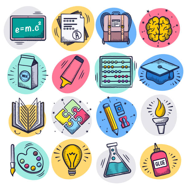 Teaching & Learning Online Liquid Doodle Style Vector Icon Set Teaching and learning online liquid doodle style outline symbols on color background. Vector icons set for infographics, mobile or web page designs. elementary school teacher stock illustrations