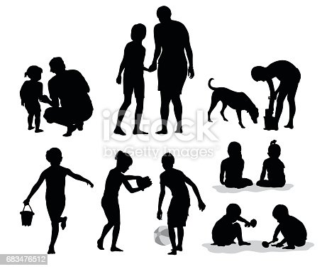 Silhouette vector illustration collection of parents and their children playing outdoors in the summer