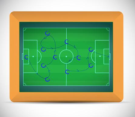 Teaching soccer plays on a chalkboard.