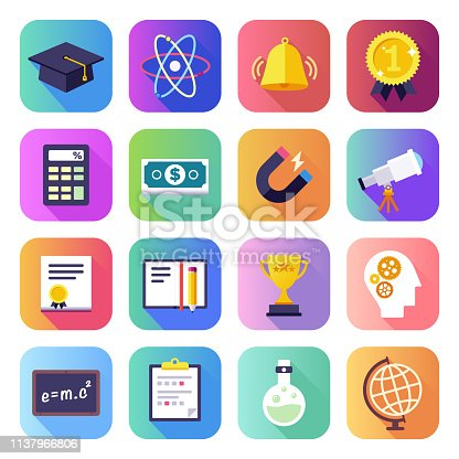 Teaching theory, research and practice flat smooth gradient style concept symbols. Flat design vector icons set for infographics, mobile and web designs.