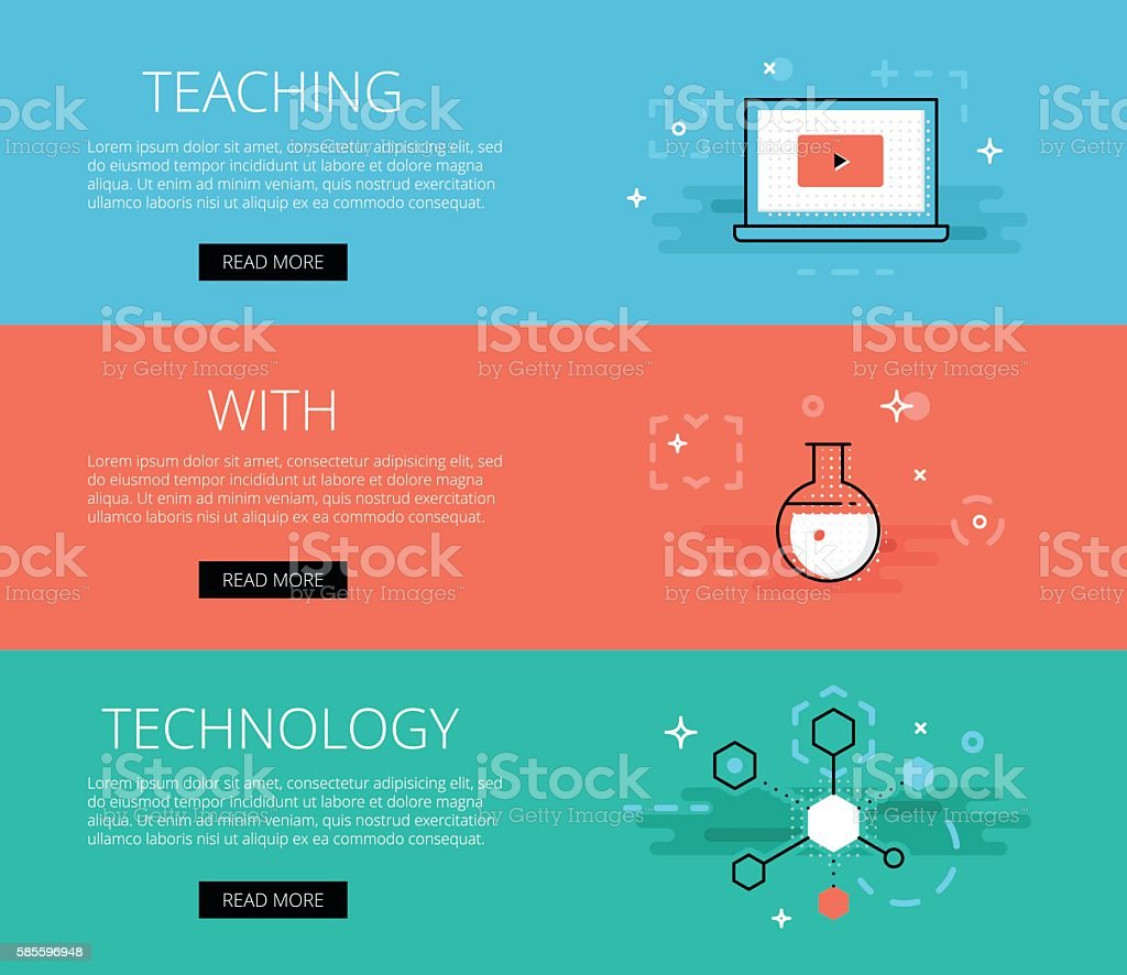 Teaching With Technology. Vector banners set vector art illustration