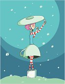 ballerina dressed as a teacup with a saucer hat dancing in a sugar cube fall trying to catch them with her spoons
