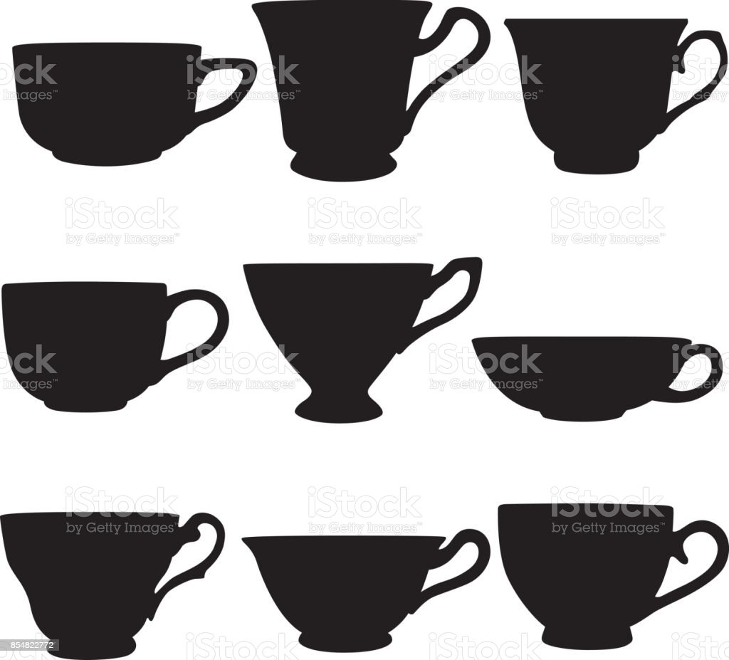 Teacup Silhouettes vector art illustration