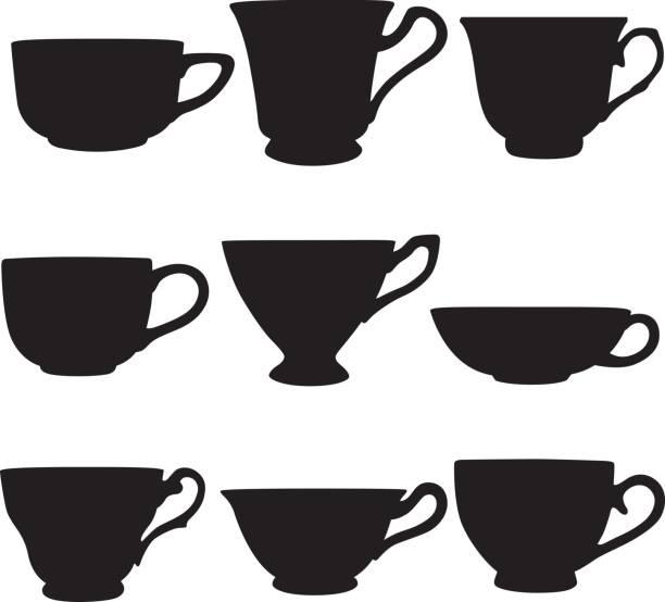 stockillustraties, clipart, cartoons en iconen met theekopje silhouetten - theekop