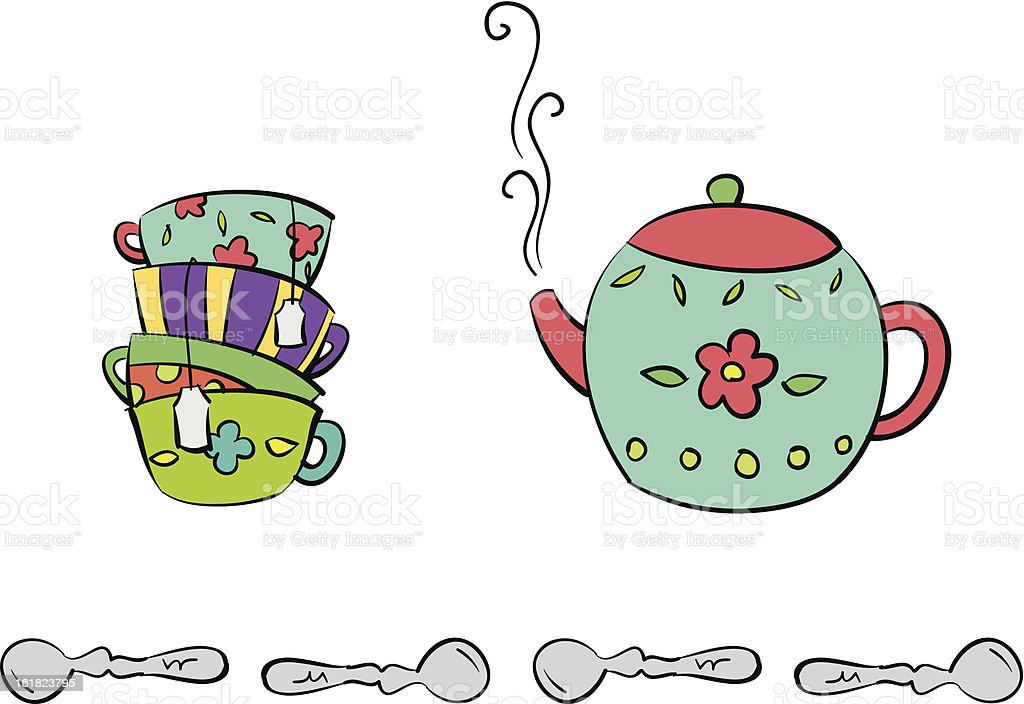 Teacups and Teapot royalty-free stock vector art