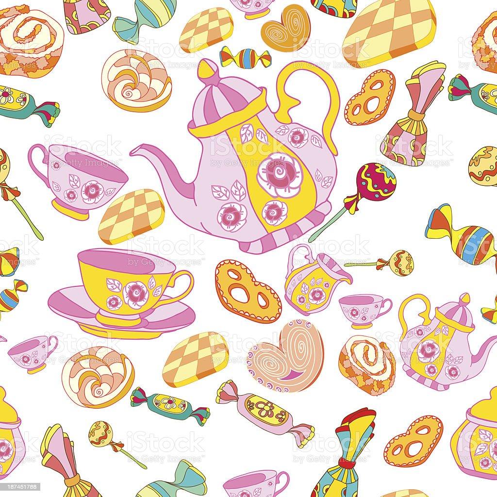 tea-drinking pattern royalty-free stock vector art