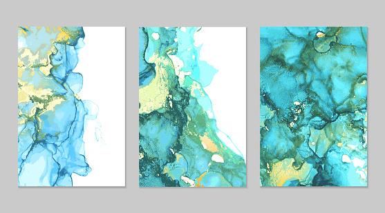 Teal and gold marble abstract backgrounds set