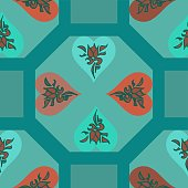 Teal And Red Hearts Geometric Pattern