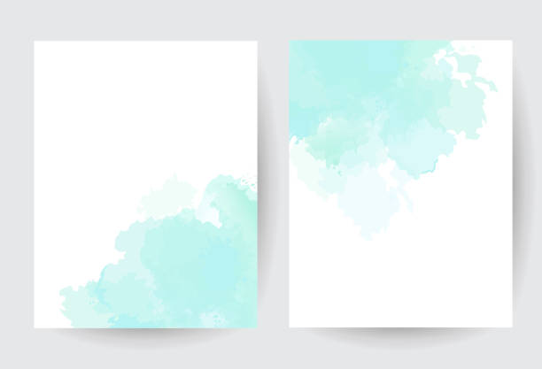 Teal blue watercolor vector splash cards. Teal blue watercolor vector splash cards. Simple minimalist backgrounds, hand-drawn watercolour texture. Painted delicate spots.Elegant frames.Mint, cyan, teal trendy color brush art drawing on white. blue borders stock illustrations