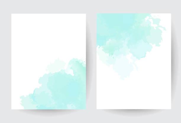 stockillustraties, clipart, cartoons en iconen met groen blauw aquarel vector splash kaarten. - aquarel