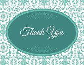 Teal Damask Thank You Note