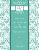 Teal Damask Wedding vertical Invitation on a damask patterned background.  There is a large vertical rectangle in teal in the middle of the poster with the wedding invitational text.  At the top of the teal rectangle stripe is a white banner with the initial 'N'.
