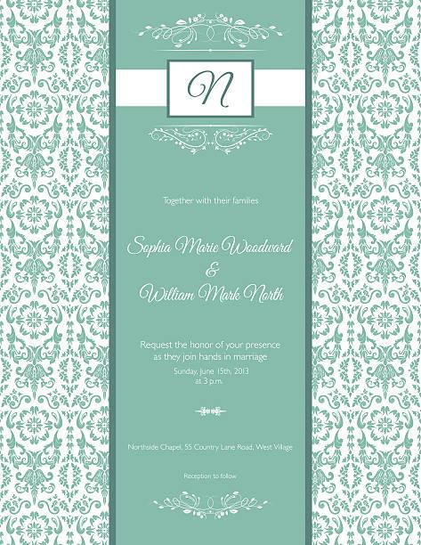 teal damask wedding invitation - black tie events stock illustrations, clip art, cartoons, & icons