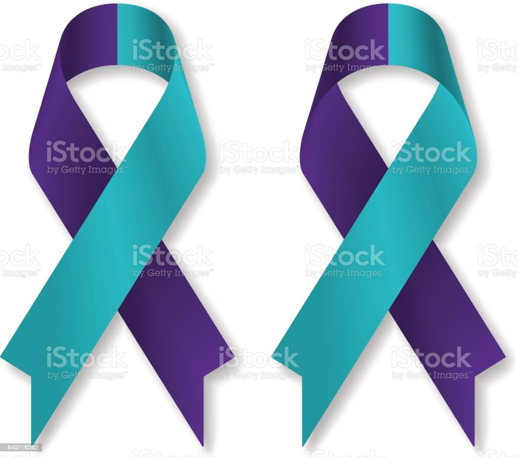 Teal purple ribbon for suicide prevention / awareness, isolated on white background, front and back view, a vector illustration. vector art illustration