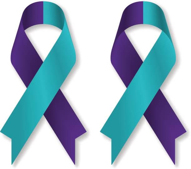 ilustraciones, imágenes clip art, dibujos animados e iconos de stock de cinta púrpura teal para prevención del suicidio / conciencia, aislada sobre fondo blanco, frente y la espalda vista, una ilustración del vector. - símbolo societal