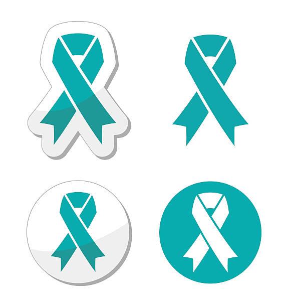 teal ribbon - ovarian, cervical, and uterine cancers symbol - ovarian cancer ribbon stock illustrations