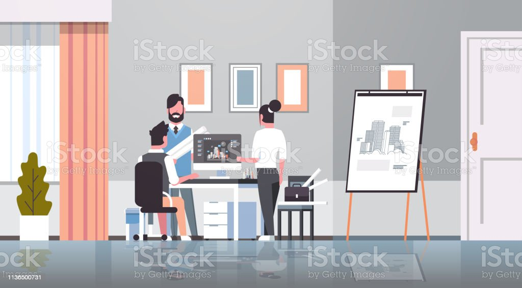 Team Architect Engineers Drawing Blueprint Urban Building Plan On Computer Panning Design Project Concept Office Draftsman Studio Interior Horizontal Full Length Stock Illustration Download Image Now Istock