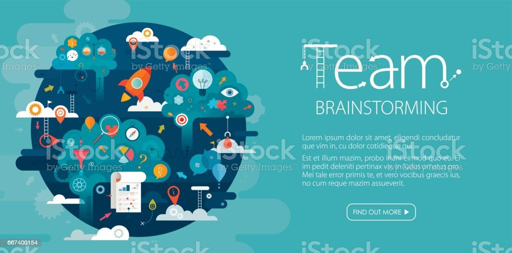Team Brainstorming Web Banner Blue Background royalty-free team brainstorming web banner blue background stock vector art & more images of abstract