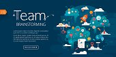 Vector banner template with copy space text and illustration showing team brainstorming. We can see lot of different elements/icons related with solving problem and finding the solution. Those are: identify the problem - question mark; analyze the problem - magnifying glass with puzzle; evaluate possible solutions - document; ladders - progress etc. Very nice layered. File contains one clipping mask. Used font: Myriad Pro.